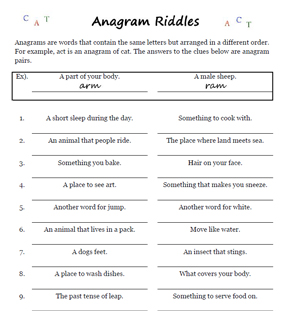 word games anagram riddles worksheets. Black Bedroom Furniture Sets. Home Design Ideas