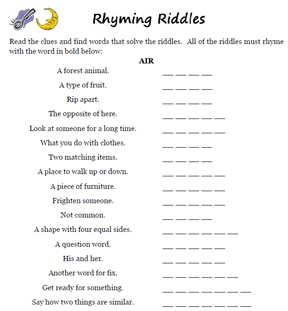 Worksheets Rhymes Words Examples word games rhyming riddles worksheets riddle sample worksheet