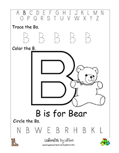 letter b alphabet worksheets. Black Bedroom Furniture Sets. Home Design Ideas