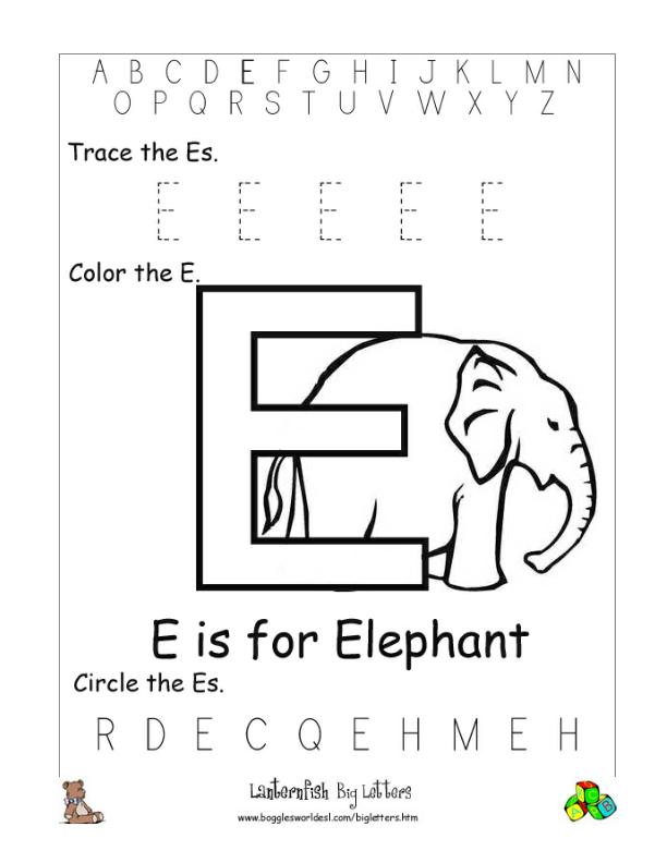 Letter E Alphabet Worksheets
