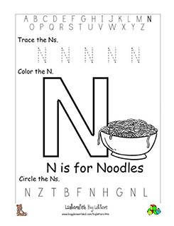 Letter N Alphabet Worksheets