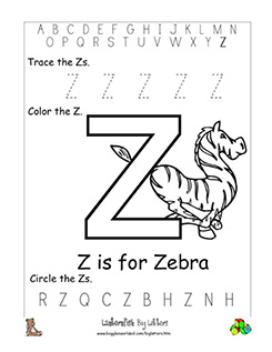 Letter Z Alphabet Worksheets