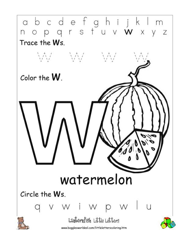 Letter W Alphabet Worksheets