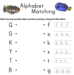 sample alphabet matching worksheet.