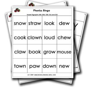 Vowel Digraph Bingo Game