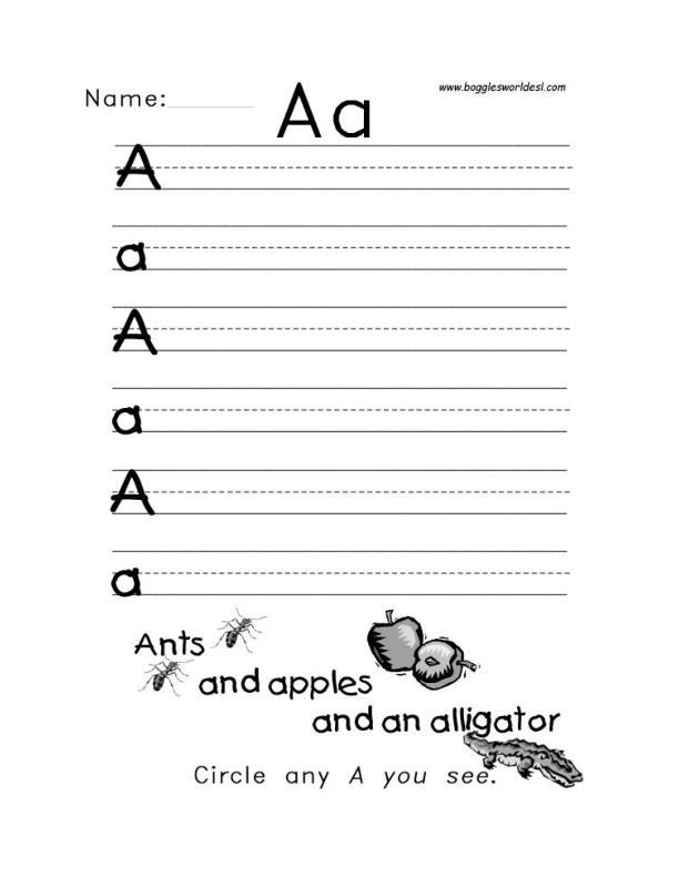 Letter A Alphabet Worksheets – Esl Writing Worksheets