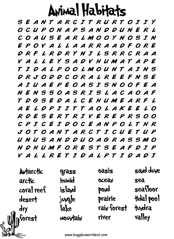 graphic regarding Animals Word Search Printable named ESL Wordsearches