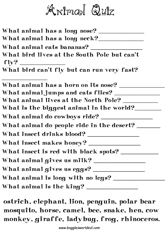 Boggles World ESL Worksheets for Kids – Animal Worksheets