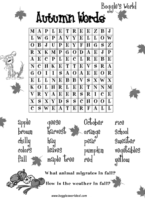Animal Search Autumn Words Castle