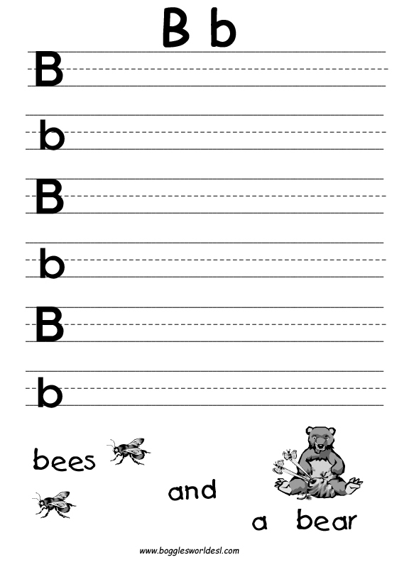 Worksheets Letter B Worksheets Kindergarten letter b alphabet worksheets big and little writing worksheet