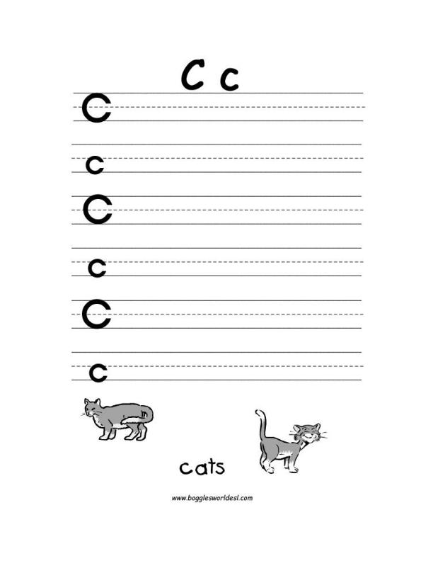Worksheet Letter C Worksheets Preschool letter c alphabet worksheets big and little writing worksheet