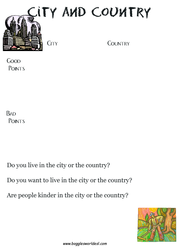 Boggle's World Esl Worksheets For Kids. Country City Goodbad. Kindergarten. Where Animals Live Worksheets For Kindergarten At Clickcart.co