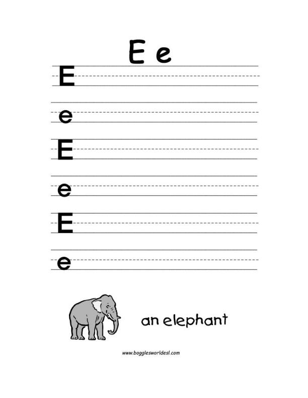 Letter e alphabet worksheets big and little e writing worksheet spiritdancerdesigns Choice Image