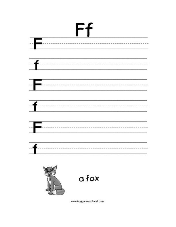Letter A Alphabet Worksheets – Letter F Worksheets for Kindergarten