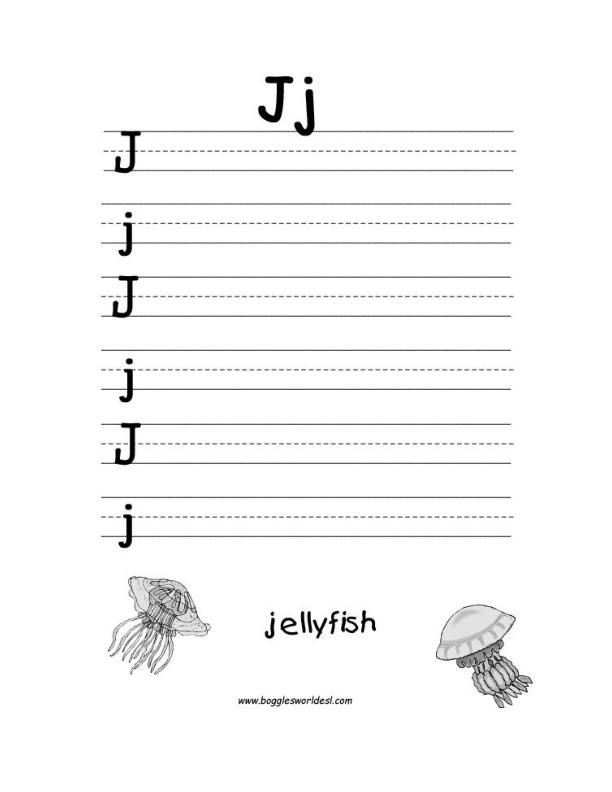 math worksheet : letter j alphabet worksheets : Kindergarten Letter Writing Worksheets