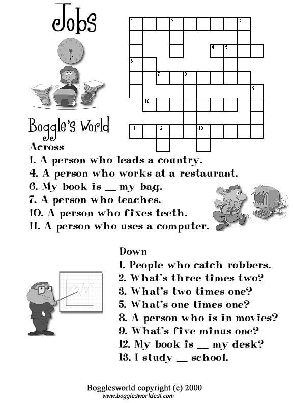 Crosswords for ESL – Job Worksheets