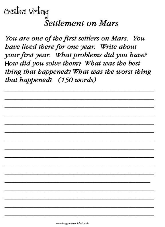 Worksheets Adult Handwriting Worksheets esl creative writing worksheets martian settlement
