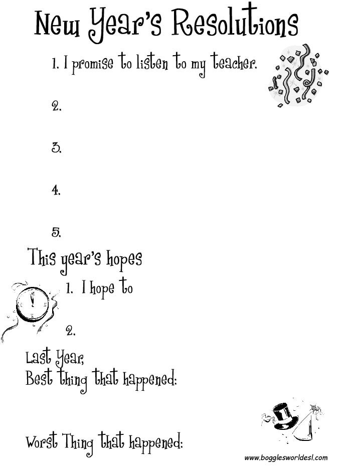 Aldiablosus  Unique New Years Worksheets And Activities With Magnificent New Years Resolutions With Easy On The Eye Chain Analysis Worksheet Also Cursive Writing Worksheet In Addition Similar Triangles Worksheet Answers And Financial Planning Worksheet As Well As Syllables Worksheets Additionally Chemistry Atomic Number And Mass Number Worksheet Answers From Bogglesworldeslcom With Aldiablosus  Magnificent New Years Worksheets And Activities With Easy On The Eye New Years Resolutions And Unique Chain Analysis Worksheet Also Cursive Writing Worksheet In Addition Similar Triangles Worksheet Answers From Bogglesworldeslcom
