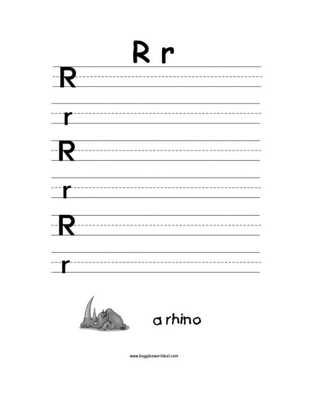 Alphabet Letter R Worksheets