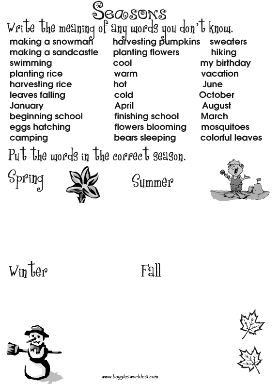 Boggles World ESL Worksheets for Kids – Seasons Worksheet Kindergarten