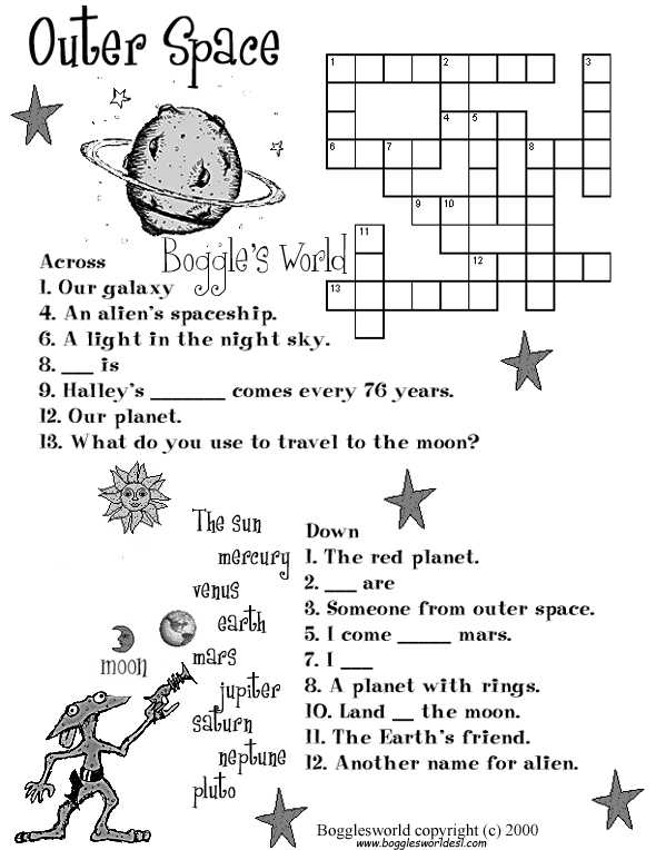 Crosswords for ESL – Outer Planets Worksheet