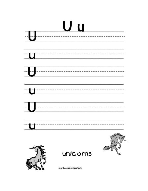 Letter U Alphabet Worksheets