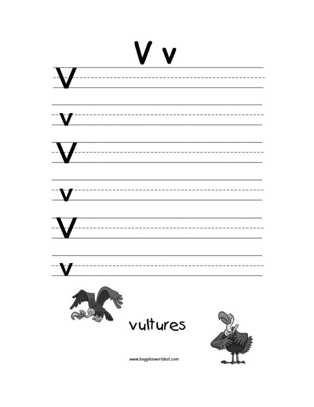 Letter V Alphabet Worksheets. Big And Little V Writing Worksheet. Worksheet. Letter V Phonics Worksheet At Clickcart.co