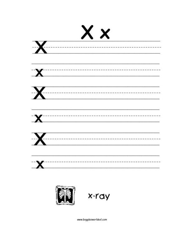 Big and Little X Writing Worksheet