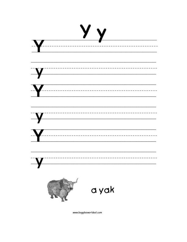 letter y alphabet worksheets. Black Bedroom Furniture Sets. Home Design Ideas