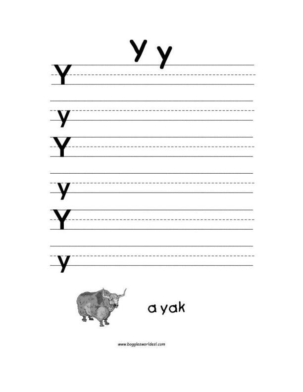 Letter Y Alphabet Worksheets – Letter Y Worksheets for Kindergarten