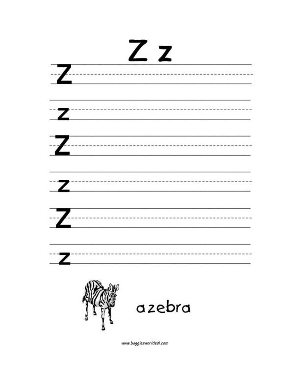 Letter Z Alphabet Worksheets – Letter V Worksheets for Kindergarten