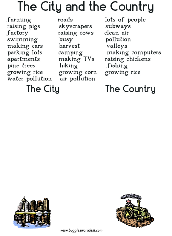 an overview of the comparison of childrens living in countryside and cities Free city and countryside worksheets in the cities and countryside section of busy teacher, there are 149 free worksheets to choose from  they range from very simple word searches to detailed activities related to these topics.