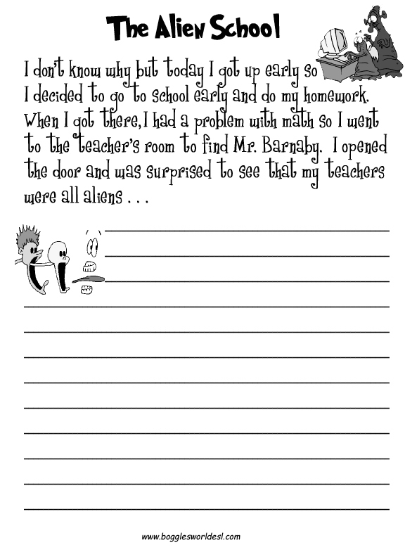 Worksheet Story Writing For Grade 3 esl creative writing worksheets the alien school