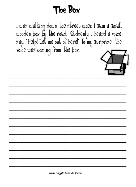 esl creative writing worksheets the voice from the box