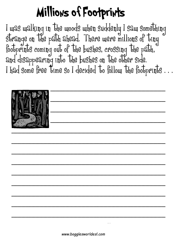 Printables Writing Prompts Worksheets esl creative writing worksheets footprints