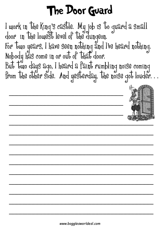Esl Creative Writing Worksheets The Door Guard