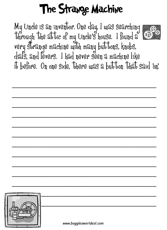 Worksheet Esl Writing Worksheets esl creative writing worksheets the strange machine
