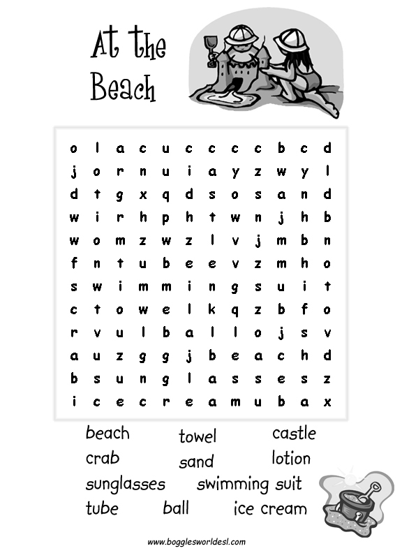 Worksheets Food Word Search For Grade 2 esl wordsearches beach school picnic