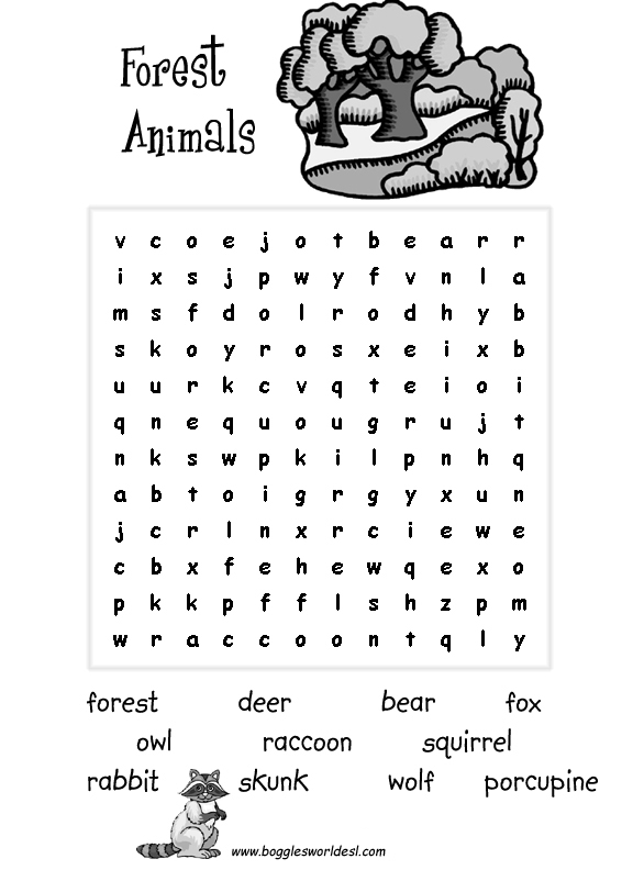 esl wordsearches sea animals forest animals jungle animalsii