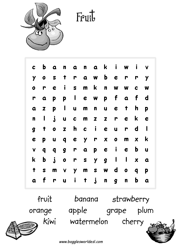 Worksheets Food Word Search For Grade 2 esl wordsearches fruit clothes fish