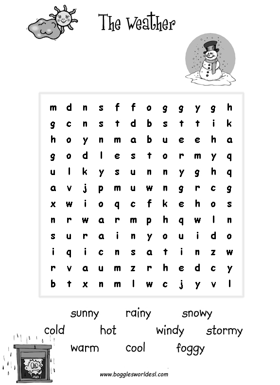Printables Free Printable Weather Worksheets the weather worksheets for young esl learners wordsearch