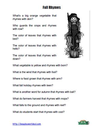autumn rhymes worksheet