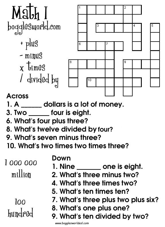 Crosswords for ESL – Math Crossword Puzzle Worksheets