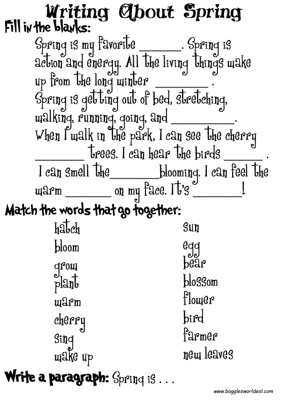 Spring Worksheets – Vocabulary Worksheets Middle School