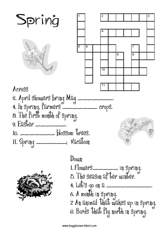 Spring English Worksheets : Spring worksheets and teaching activities