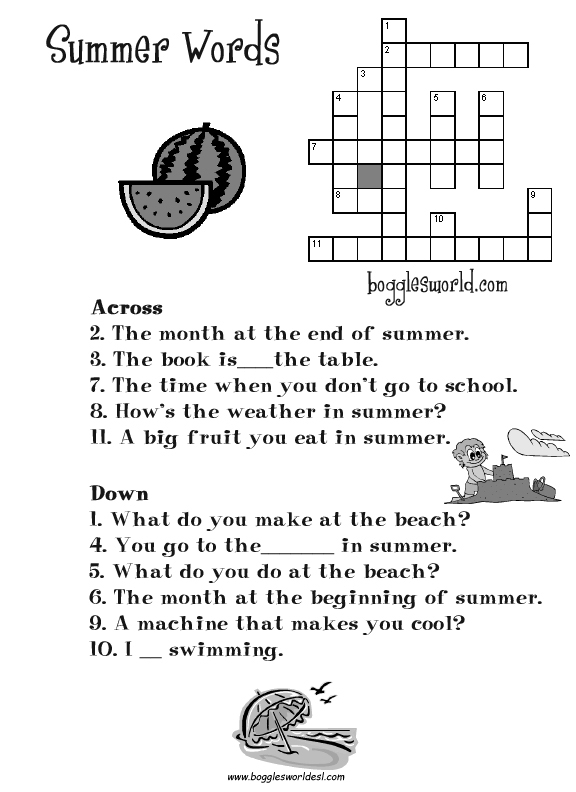 Printables Summer Worksheets summer worksheets for kids and esl teachers crossword