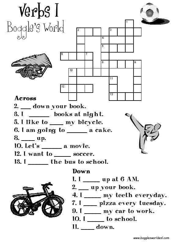Crosswords for esl verbs i ccuart Choice Image