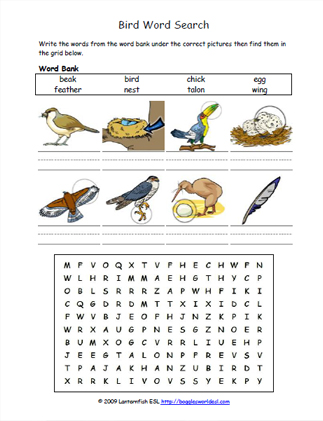 Worksheet 5 Bird Word Search Easy Word Search With 8 Bird Words