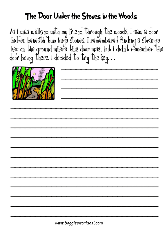 Esl Creative Writing Worksheets. The Door Under Stones. Worksheet. Worksheet English Handwriting At Mspartners.co