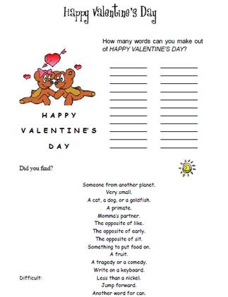 Happy Valentine S Day Word Scramble Worksheet